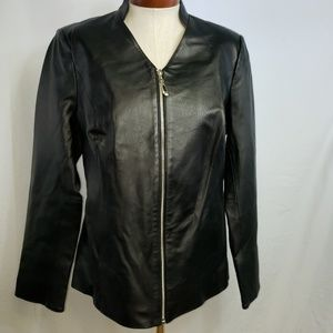 IMAN Genuine Black Leather Jacket Near Prestine